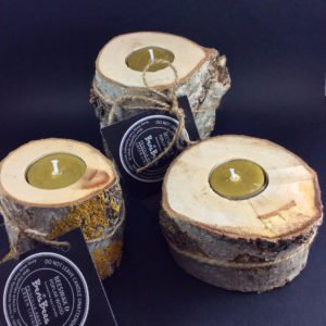 Poplar Wood and Beeswax Candles 10cm